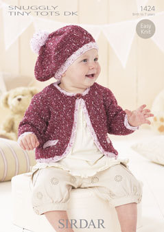 1424 - SIRDAR SNUGGLY TINY TOTS DK JACKET AND BERET ...