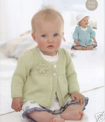 Free Baby Knitting Patterns Dk : 1752 - SIRDAR SNUGGLY BABY BAMBOO DK CARDIGAN KNITTING PATTERN - TO FIT 0 TO ...