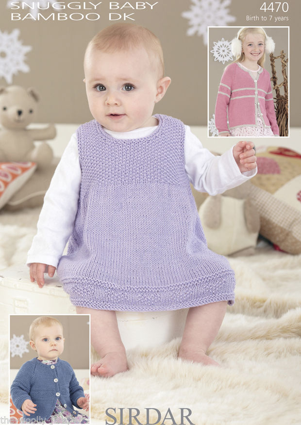 Baby Knitting Patterns Dk : 4470 - SIRDAR SNUGGLY BABY BAMBOO DK CARDIGAN & DRESS KNITTING PATTERN - ...