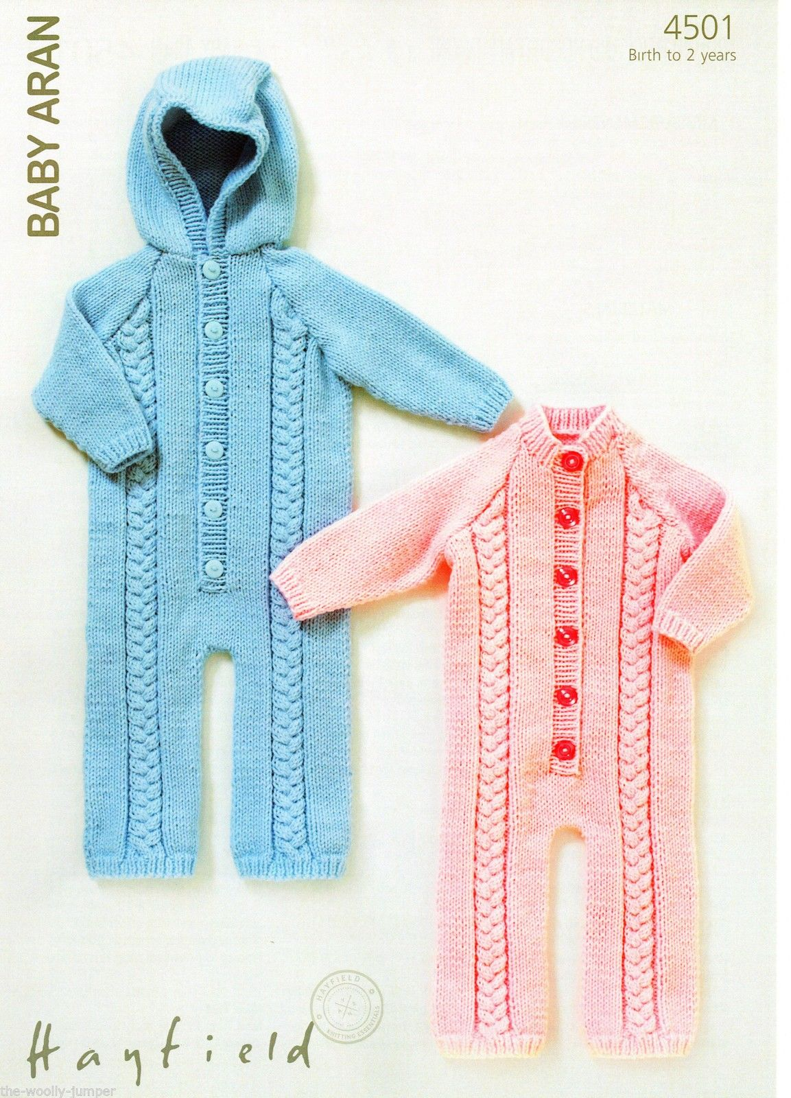Hayfield Knitting Patterns For Babies : 4501 - HAYFIELD BABY ARAN ALL-IN-ONE ONSEIE KNITTING PATTERN - TO FIT 0 TO 2 ...