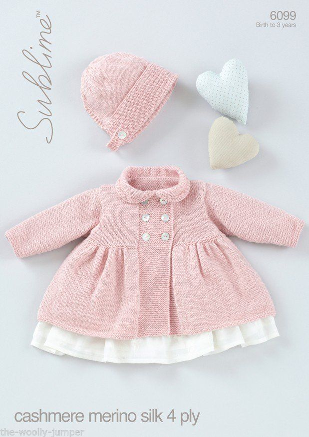 Sublime Knitting Pattern Books Babies : 6099 - SUBLIME BABY CASHMERE MERINO SILK 4 PLY COAT & BONNET KNITTING PAT...
