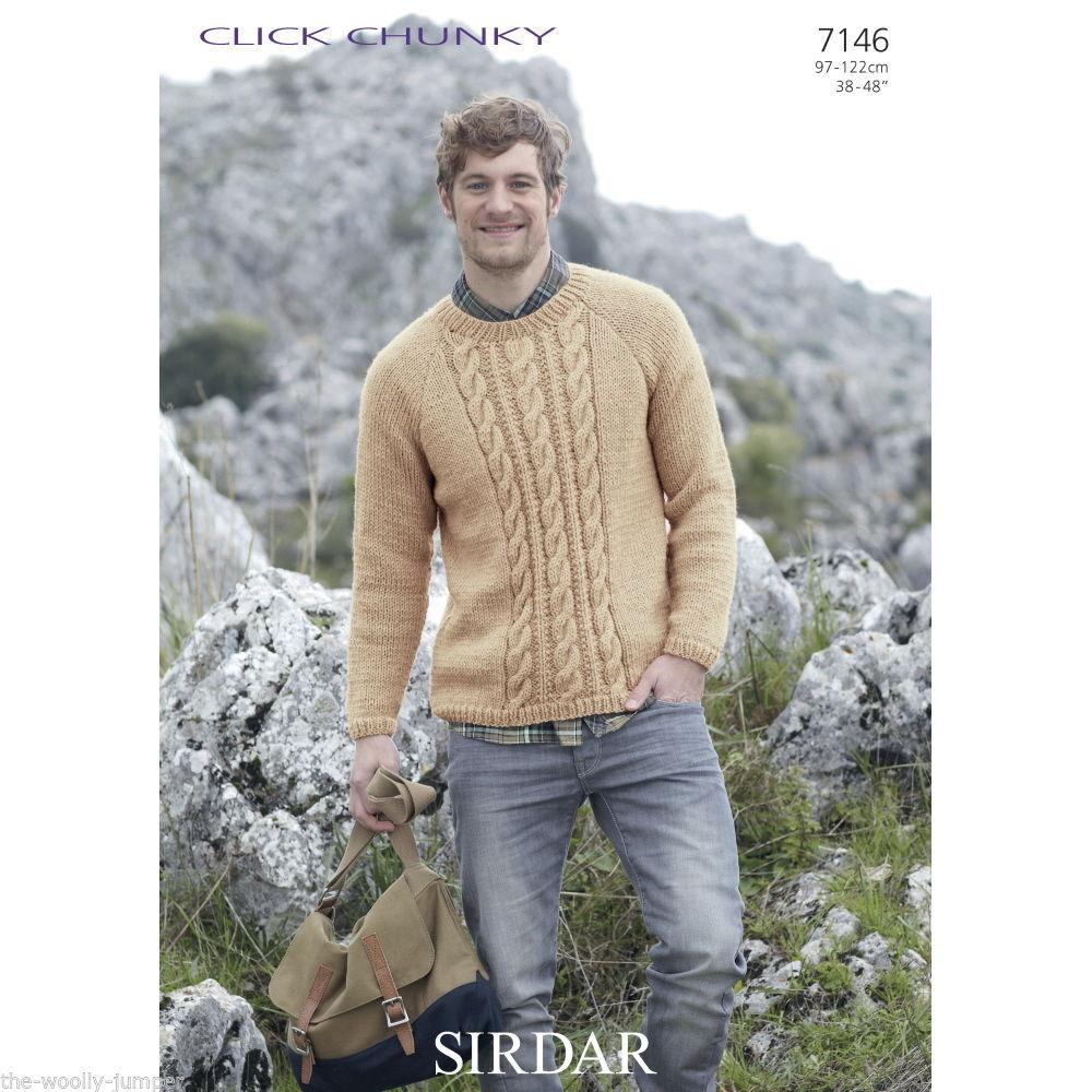 Knitting Pattern Mens Chunky Jumper : 7146 - SIRDAR CLICK CHUNKY MENS SWEATER KNITTING PATTERN - TO FIT CHEST 38 TO 48