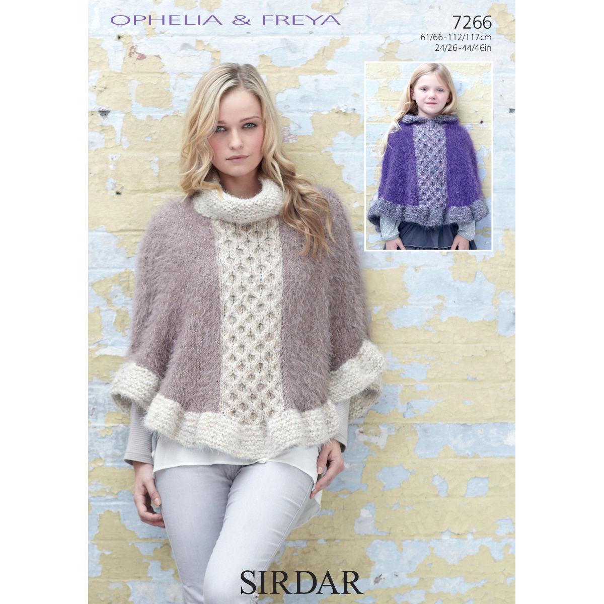 Free Knitting Pattern Chunky Cape : 7266 - SIRDAR OPHELIA & FREYA CHUNKY CAPE KNITTING PATTERN - TO FIT CHEST...