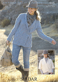 Denim Jacket Knitting Pattern : 9145 - SIRDAR DENIM SPORT ARAN CARDIGAN KNITTING PATTERN - SIZE S M L XL